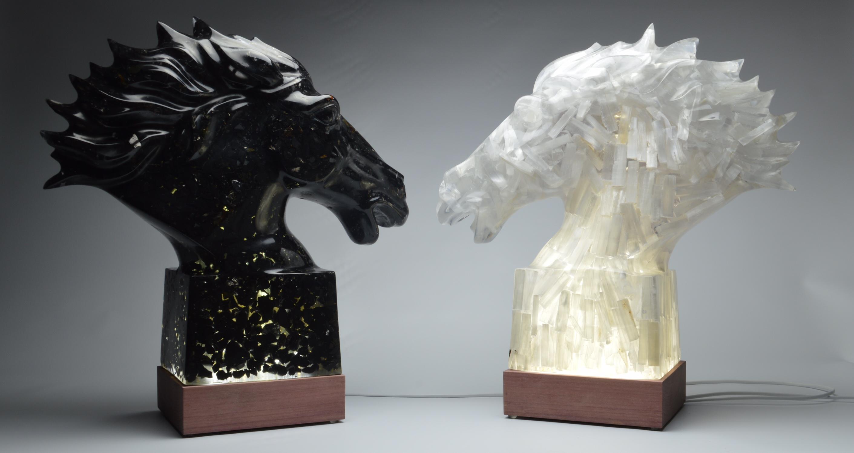 Crystal stallions of shungite and selinite
