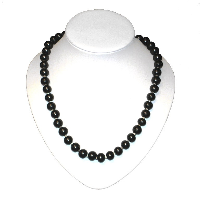 Shungite Necklace 55 Cm With Silver Glass Beads